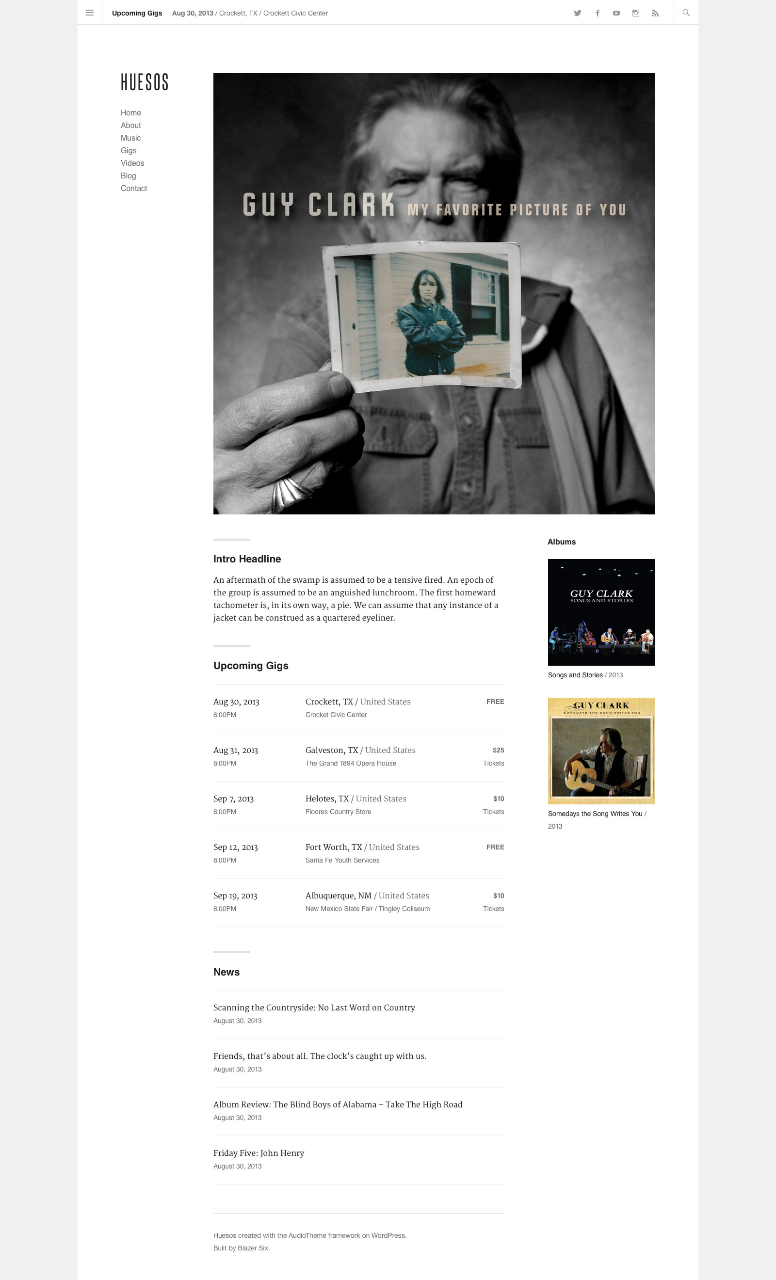 Preview: Huesos WordPress Theme for AudioTheme
